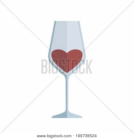 Glass of wine. Colored vector illustration on white background
