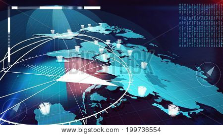 Global Internet Map With Compasses, Clocks, Bits