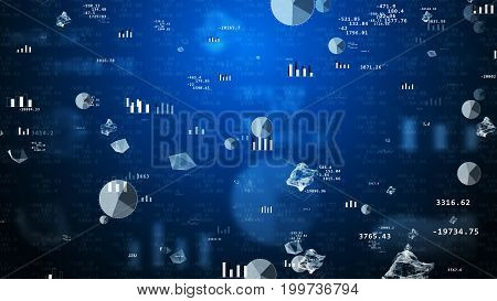 Impressive 3D rendering of stock exchange values with flying pie charts histograms bar charts decimal numbers enigmatic figures spheres. The background is dark blue with several tints