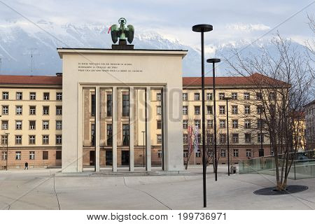 Innsbruck, Austria - February 9, 2017: Liberation Monument at Landhausplatz. The Liberation Monument is located near the Neues Landhaus and was built from 1946 to 1948 by the French.