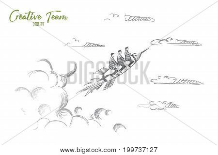 Creative team concept. Hand drawn people flying on rocket. Startup concept, creative team work isolated vector illustration.