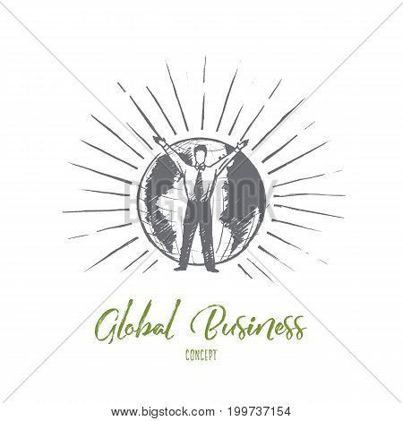 Global business concept. Hand drawn businessman holding hand up. Man in front of Earth isolated vector illustration.