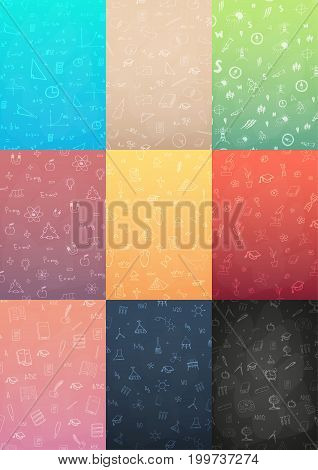 Set Of Banners School Subjects. Back To School Background. Education Banner.