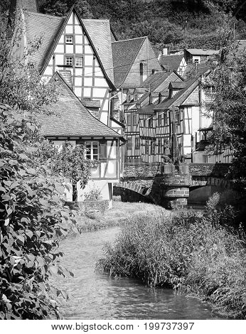 Traditional half-timber houses of the Eifel region, Monreal, Germany