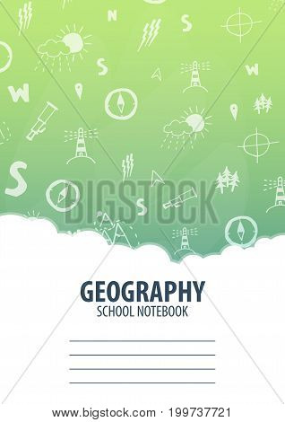 Geography School Notebook Template. Back To School Background. Education Banner.