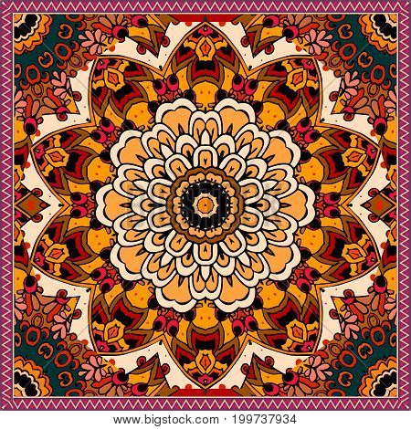 Ethnic square rug with flower mandala in warm tones. Indian aztec mexican motives. Vector illustration. Bandana print.