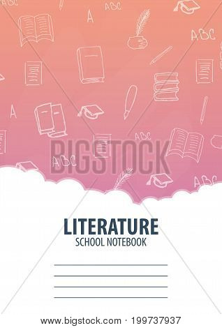 Literature School Notebook Template. Back To School Background. Education Banner.
