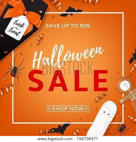 Halloween sale vector background. Top view on spiders, paper bats and confetti on orange backdrop. Vector illustration with black gift box in the form of coffin. Special seasonal offer.