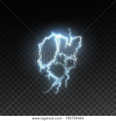 Shiny lightning or electricity blast isolated on checkered transparent background. Electric discharge. Thunderbolt or lightning visual effect for design. Vector illustration