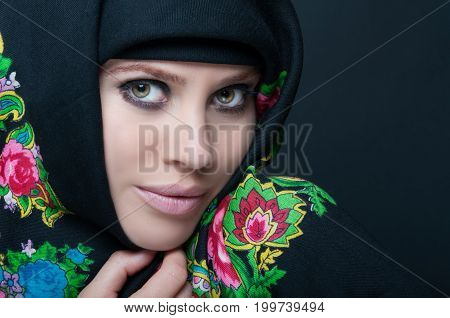 Beautiful Delicate Female Posing With Headscarf