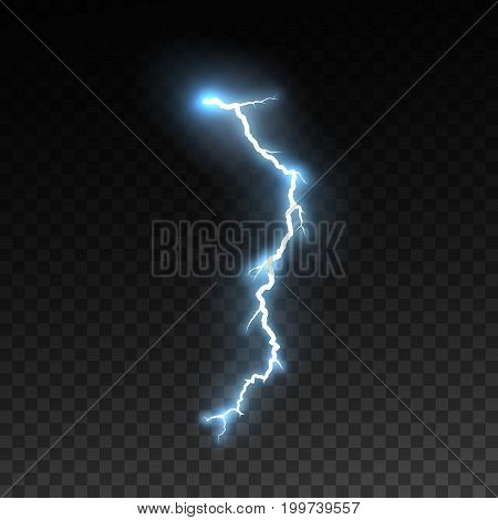 Realistic shiny lightning isolated on checkered transparent background. Thunderbolt or lightning visual effect for design. Vector illustration. Thunderstorm natural effect