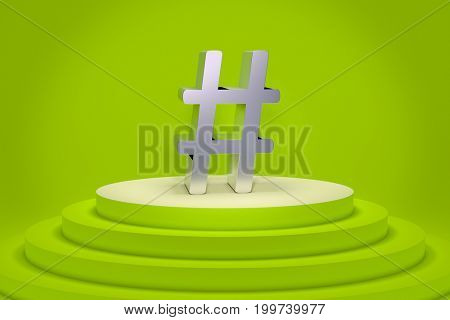 3d rendering of a green podium with a hashtag