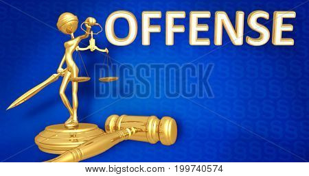Offense Law Concept Lady Justice The Original 3D Character Illustration