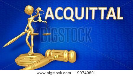 Acquittal Law Concept Lady Justice The Original 3D Character Illustration