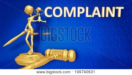 Complaint Law Concept Lady Justice The Original 3D Character Illustration