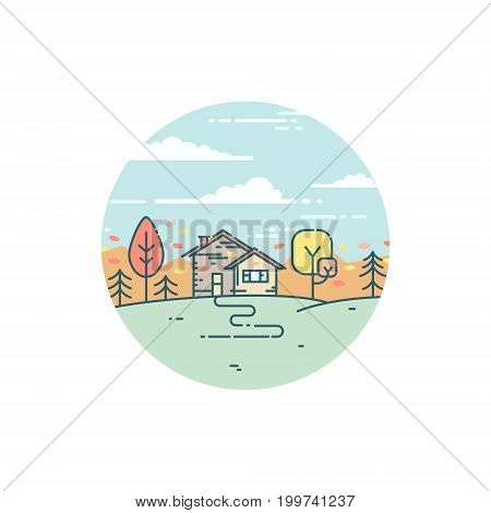 Vector flat illustration with suburban house in autumn. Nature in fall, peaceful country landscape