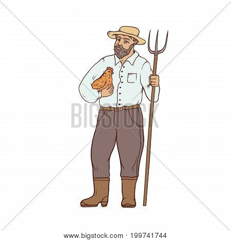 Male farmer in boots and wide-brimmed straw hat, with chicken and a pitchfork in his hands. Worker in the agricultural sector. People of professions. Vector colored sketch of realistic illustration