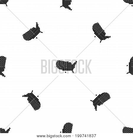 American map pattern repeat seamless in black color for any design. Vector geometric illustration