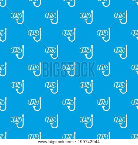 Goggles and tube for diving pattern repeat seamless in blue color for any design. Vector geometric illustration