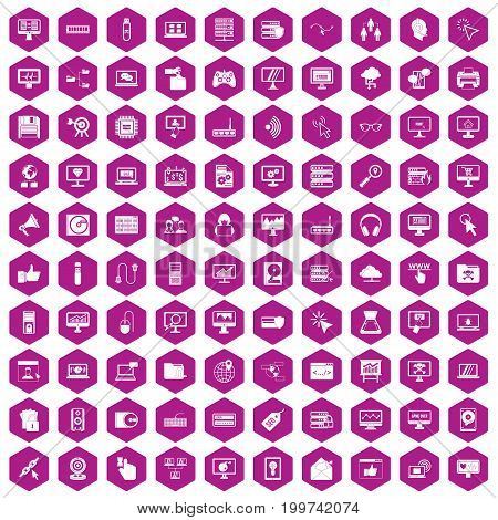 100 computer icons set in violet hexagon isolated vector illustration
