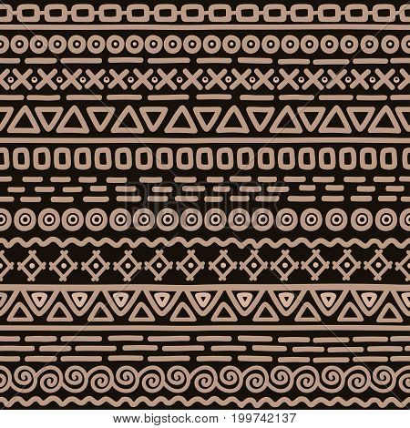 Hand drawn seamless pattern on brown background