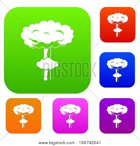 Nuclear explosion set icon in different colors isolated vector illustration. Premium collection