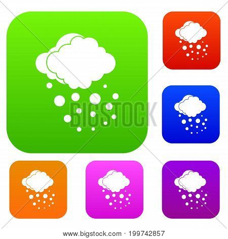 Cloud with hail set icon in different colors isolated vector illustration. Premium collection