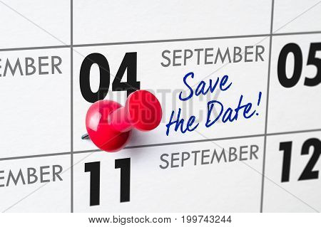 Wall Calendar With A Red Pin - September 04