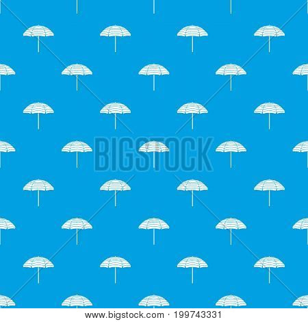 Beach umbrella pattern repeat seamless in blue color for any design. Vector geometric illustration