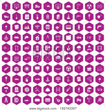 100 construction site icons set in violet hexagon isolated vector illustration