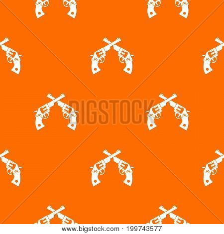 Revolvers pattern repeat seamless in orange color for any design. Vector geometric illustration