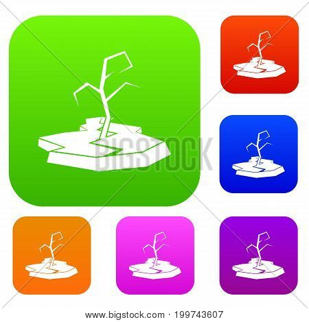 Drought set icon in different colors isolated vector illustration. Premium collection