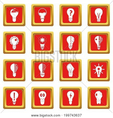 Lamp logo icons set in red color isolated vector illustration for web and any design