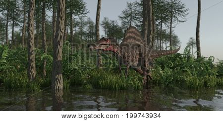 3d rendering of the hunting spinosaurus