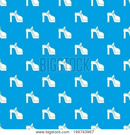 Women shoe pattern repeat seamless in blue color for any design. Vector geometric illustration