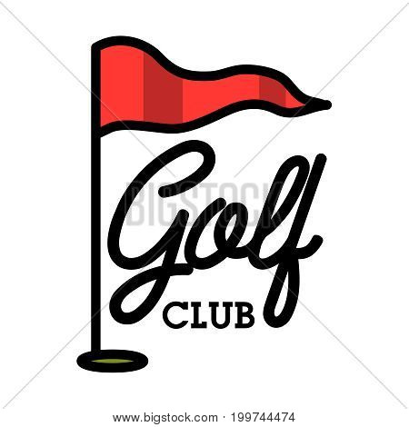 Color vintage golf club emblem. Golf championship, golf gear and equipment badge logo. Vector illustration, EPS 10