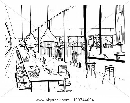 Hand drawn coworking cluster. Modern office interior, open space. workspace with computers, laptops, lighting and place for rest. Black and white horizontal vector sketch illustration