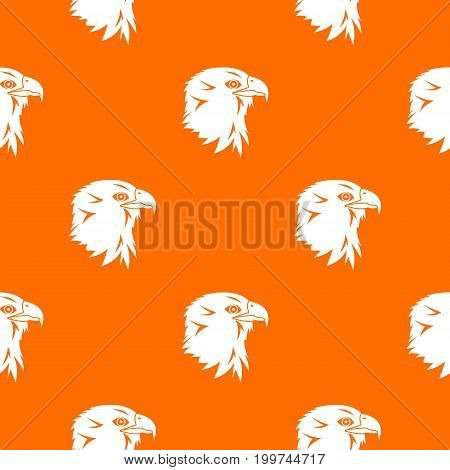Eagle pattern repeat seamless in orange color for any design. Vector geometric illustration