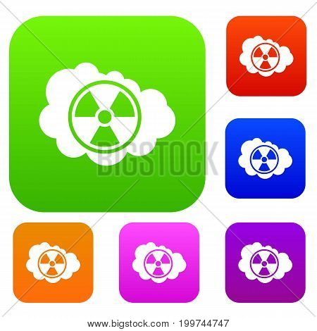 Cloud and radioactive sign set icon in different colors isolated vector illustration. Premium collection