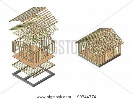 House wood frame construction. Banner for the site of a construction company. Vector illustration