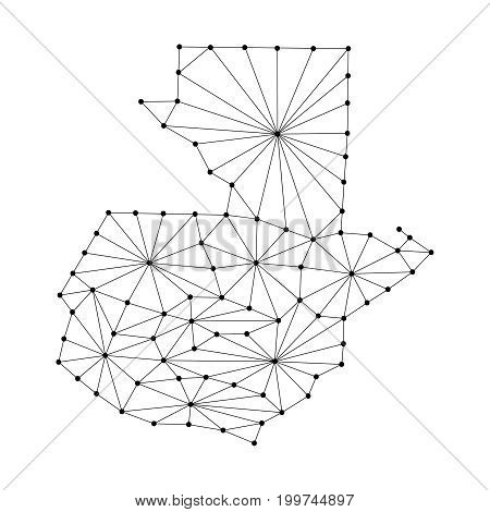 Guatemala map of polygonal mosaic lines network rays and dots vector illustration.