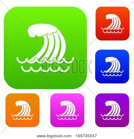 Tsunami wave set icon in different colors isolated vector illustration. Premium collection