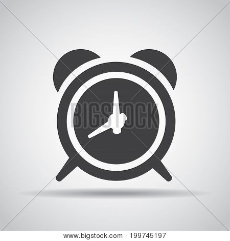 Alarm icon with shadow on a gray background. Vector illustration