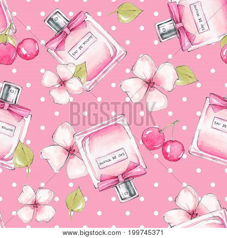 Seamless pattern. Bottle of perfume and flowers. Watercolor illustration