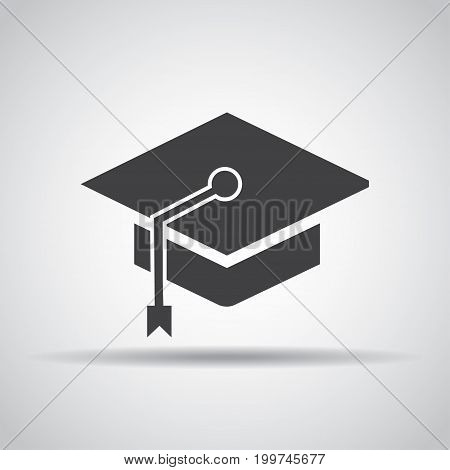 Student hat icon with shadow on a gray background. Vector illustration