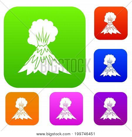 Volcano erupting set icon in different colors isolated vector illustration. Premium collection