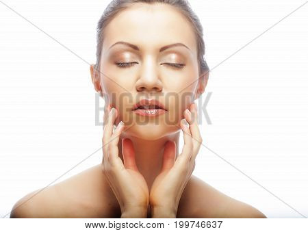 close up portrait young woman with clean skin isolated on white