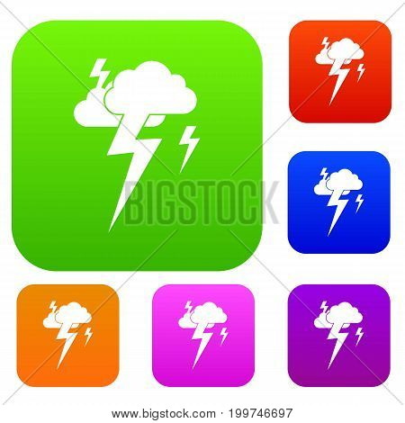 Cloud and lightning set icon in different colors isolated vector illustration. Premium collection