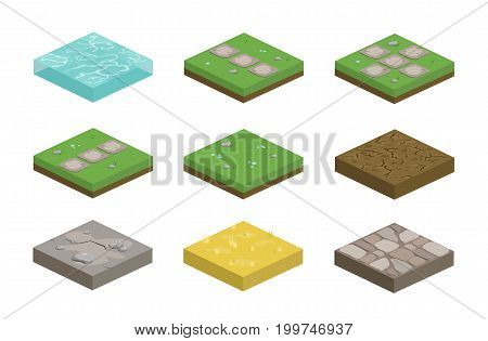 Set of isometric landscape design tiles with different surfaces - grass water dirt stone pavement and parts for creating path