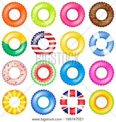 Colorful swim rings vector set. 3d realistic life buoy collection with american and UK flag, chocolate doughnut, watermelon isolated vector illustration.
